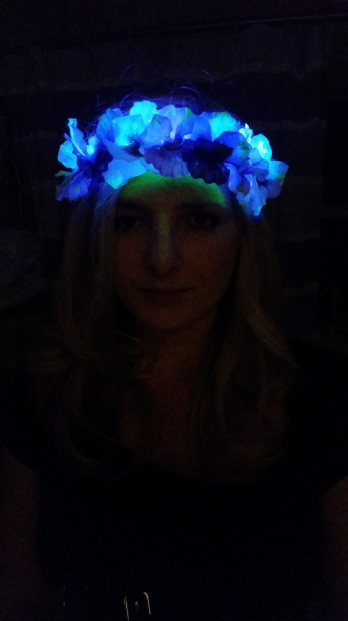 Black Light UV LED flower crown headband