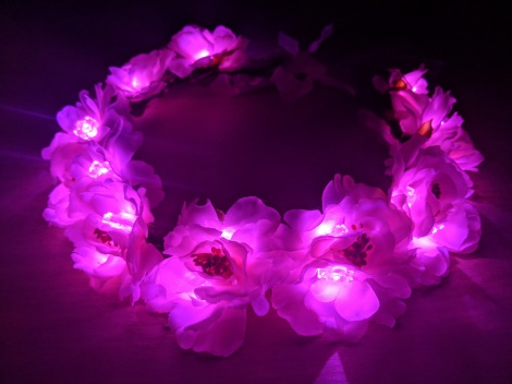 Light Up Festival LED Flower Crown Pink Adjustable Wreath