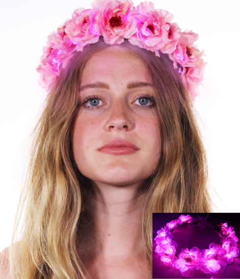 Light Up LED Flower Crown Pink