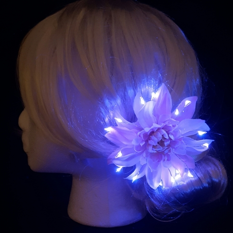 Bun Hairstyle with Pink Light Up Flower