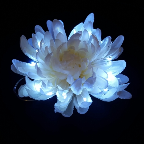 Light Up LED Hair Flower White Front