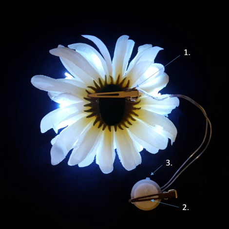 Backside of White LED Flower How to Wear Diagram